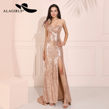 Alagirls Mermaid Sequins Prom Dresses 2019 Sweetheart Vestido de fiesta One-Shoulder Formal Party Robes bal Evening