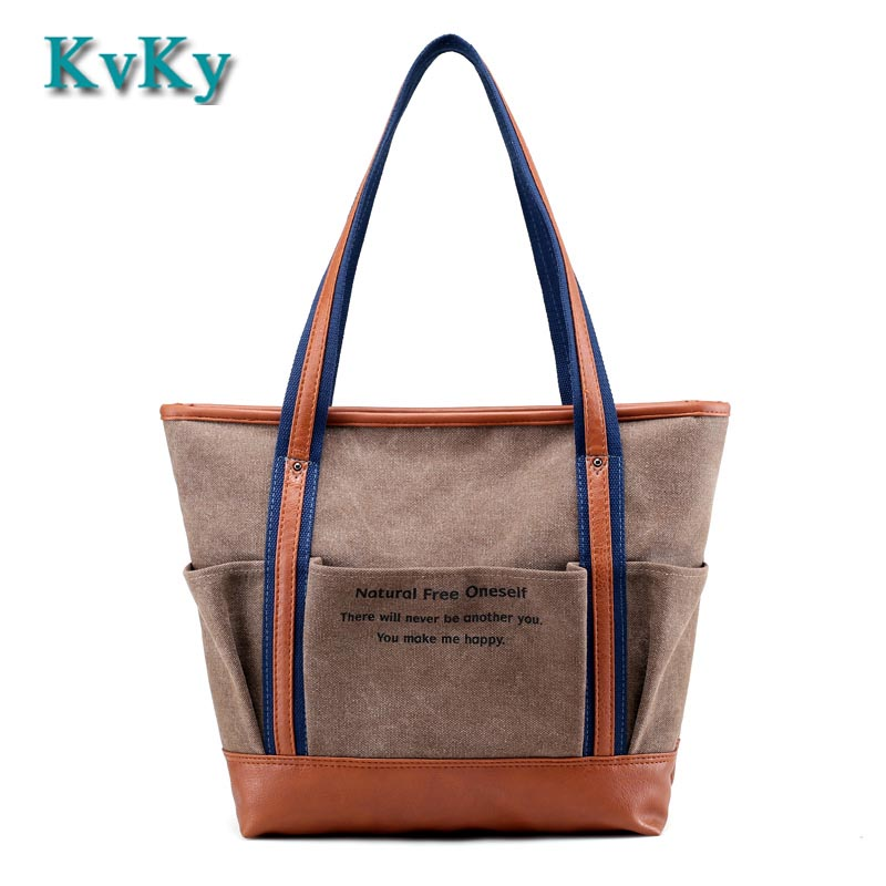 KVKY Brand Canvas Bag Tote Striped Women Handbags Woman Shoulder Bag New Fashion Sac a Main Femme De Marque Casual Bolsos Mujer exclusive limited women tote bag handbags high quality shoudler bags with hair ball ornaments sac a main femme de marque celebre