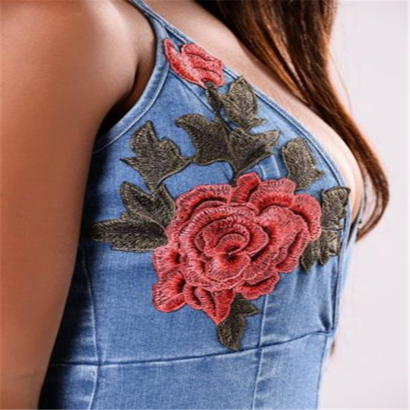 92df5b7242 Embroidery Fashion Ladies Jean Overalls New Strap Shorts Playsuit 2017  Spring Summer Denim Playsuits for Women Clothing-in Rompers from Women s  Clothing on ...