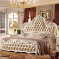 Современная Европейская кровать из цельного дерева  модная резная кожаная французская мебель для спальни pfy10153