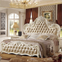 modern european solid wood bed Fashion Carved leather french bedroom furniture pfy10153