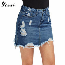 FREE SHIPPING !! Lady Ripped Pockets Bodycon Jeans Skirt JKP751