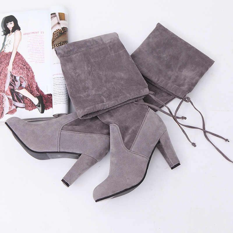 2019 novo falso camurça botas finas sexy sobre o joelho alta moda feminina inverno coxa botas altas sapatos mulher moda botas mujer