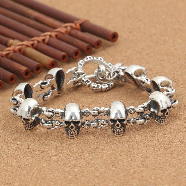 1c511de4441e Artesanal tailandia 925 Silver Skeleton pulsera Vintage de plata esterlina  de la cabeza del cráneo Real