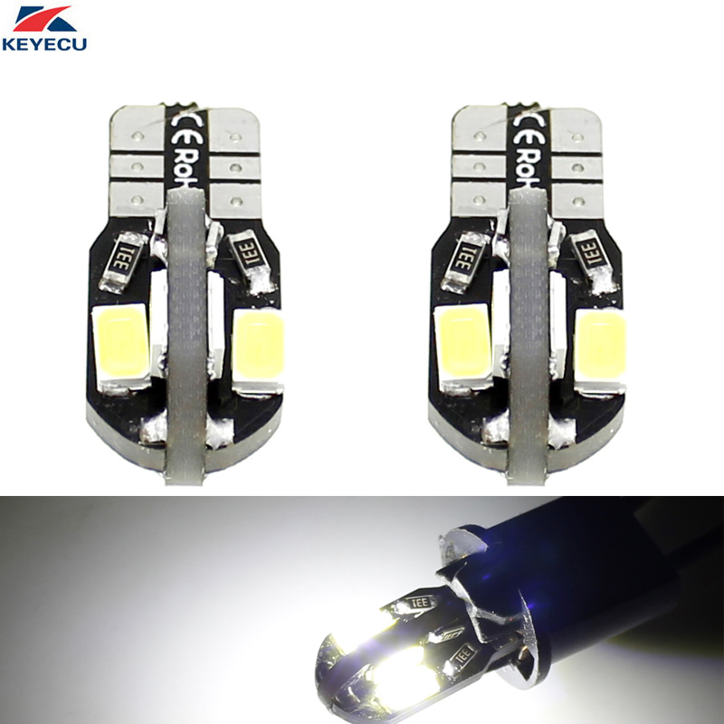 KEYECU 2 Pack White W5W T10 8SMD 5730 Chips Car Interior and Exterior Led Bulb Replacement for Map Dome Courtesy License Plate