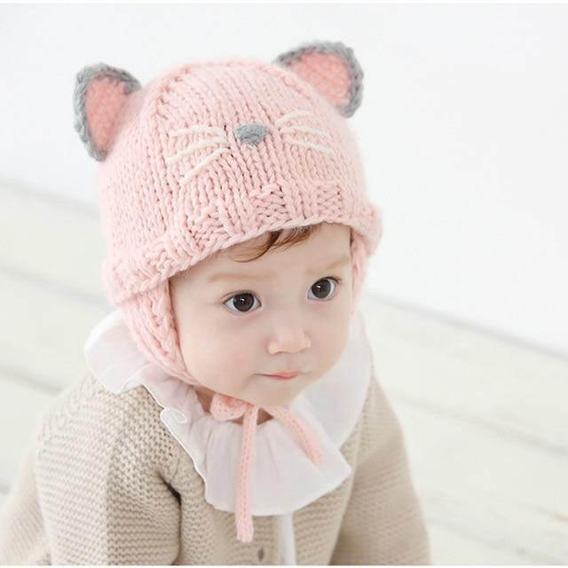 Fashion New Lovely Cute Baby Boy girl beanie Infant Striped Cotton Cap Cat Baby  hat newborn Accessories 136e115b1cb