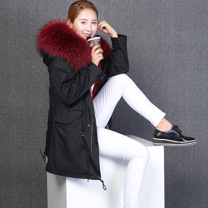 2017  new fashion woman luxurious raccoon fur collar hooded coat white thick real fur liner parkas long winter jacket 2017 winter new clothes to overcome the coat of women in the long reed rabbit hair fur fur coat fox raccoon fur collar