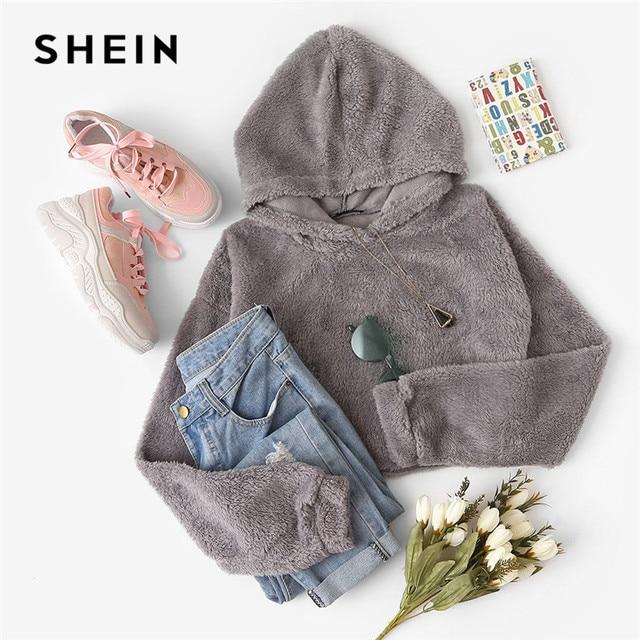 SHEIN Grey Minimalist Solid Drop Shoulder Crop Teddy Hoodie Sweatshirt Autumn Casual Fashion Women Pullovers Sweatshirts 5