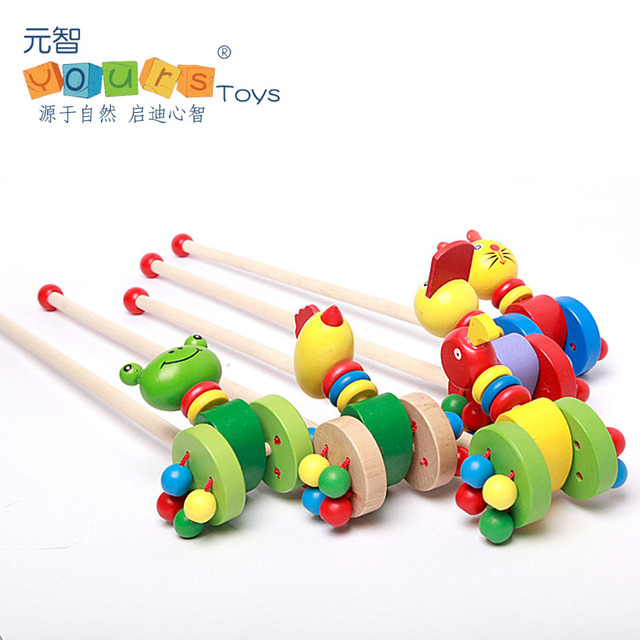 free shipping cartoon animal wooden single pole trolleys baby wooden walker toys