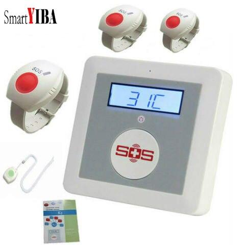 SmartYIBA APP Remote Control Senior Elderly Healthcare Panel Wireless GSM SMS Alarm System Emergency SOS Neck Wrist Panic Button
