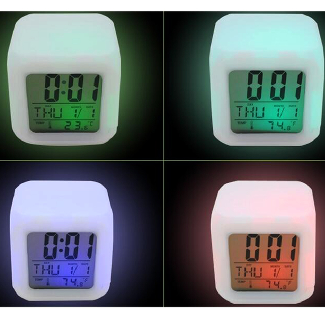 Practical Multi-function Digital Thermometer Date 7 Colors Change Display Night Glowing Led Alarm Clock calendar Desk Gadget