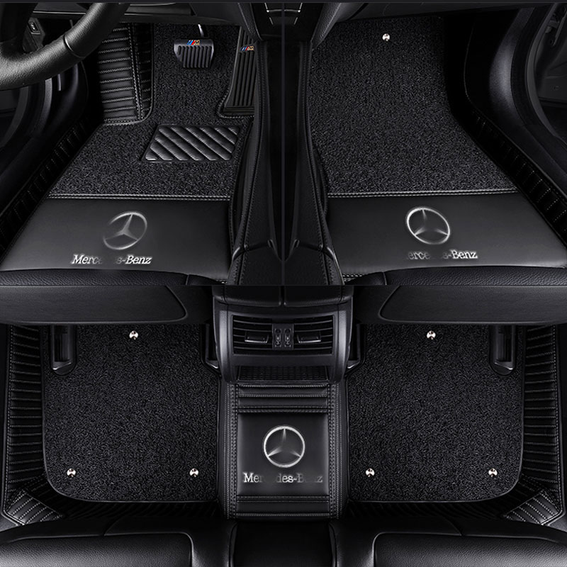 3D Car floor mats for Mercedes Benz logo Viano ABCEGSR V W204 W205 E W211 W212 W213 Sclass CLA GLC ML GLA GLE GL GLK Car carpet