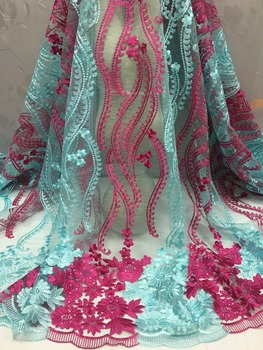 2020 French Lace Fabric High Class African Laces Fabric Double Organza With Sequins Embroidery For Sewing Beauty Women Dress