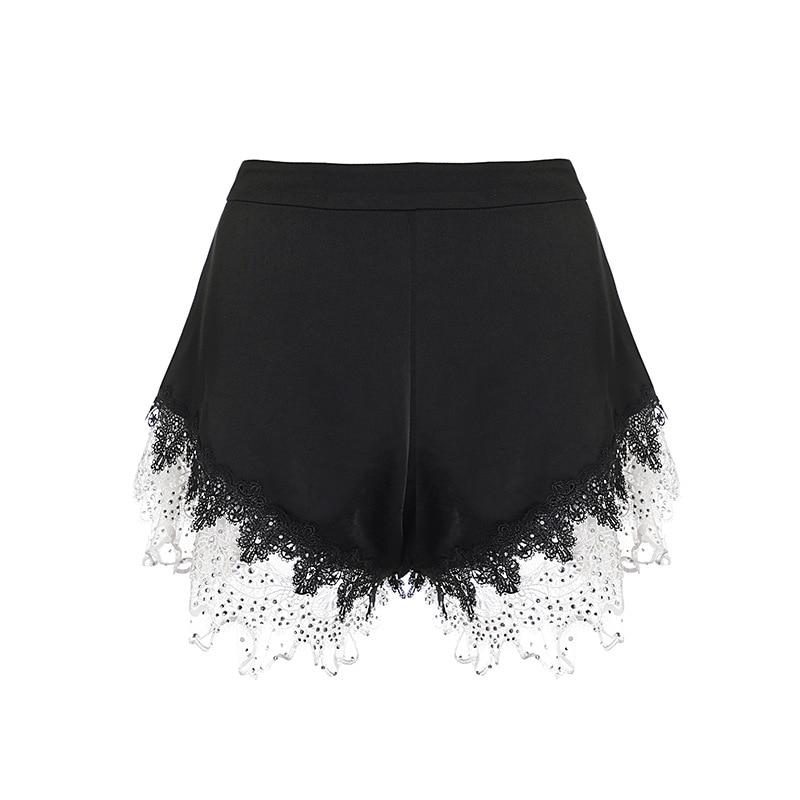 Alta qualidade shorts 2019 verão vintage shorts feminino cristal miçangas rendas brancas retalhos casual sexy clube shorts senhoras - 5