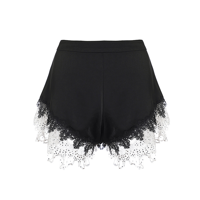 Hohe Qualität Shorts 2019 Sommer Vintage Shorts Frauen Kristall Perlen Weiß Spitze Patchwork Casual Sexy Club Shorts Damen - 5