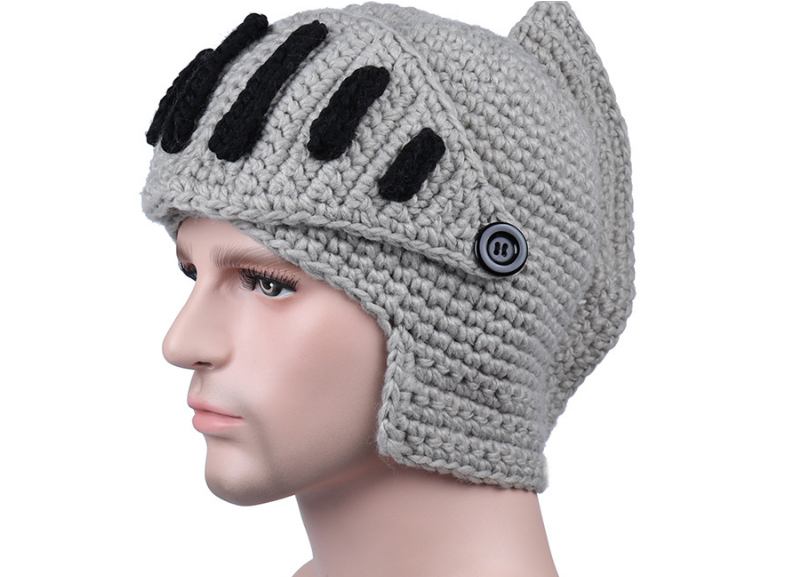 Knit Hat Beanies Gladiator-Masks Handmade Winter Roman High-Quality Wind Cotton Cap Face-Neck