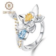 GEMS בלט טבעי שוויצרי טופז הכחולה חן טבעת 925 כסף סטרלינג בעבודת יד פרחים פתוחות להתאמה לנשים Bijoux