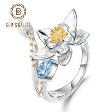 GEMS BALLET Natural Swiss Blue Topaz Gemstone Ring 925 Sterling Silver Handmade Flowers Adjustable Open Rings for Women Bijoux