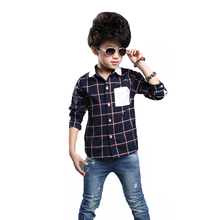 Fashion Baby Boys Plaid Pocket Button Down Shirts Long Sleeve Casual Cotton Blouse Turn Down Collar Kids Clothings Tops CS018