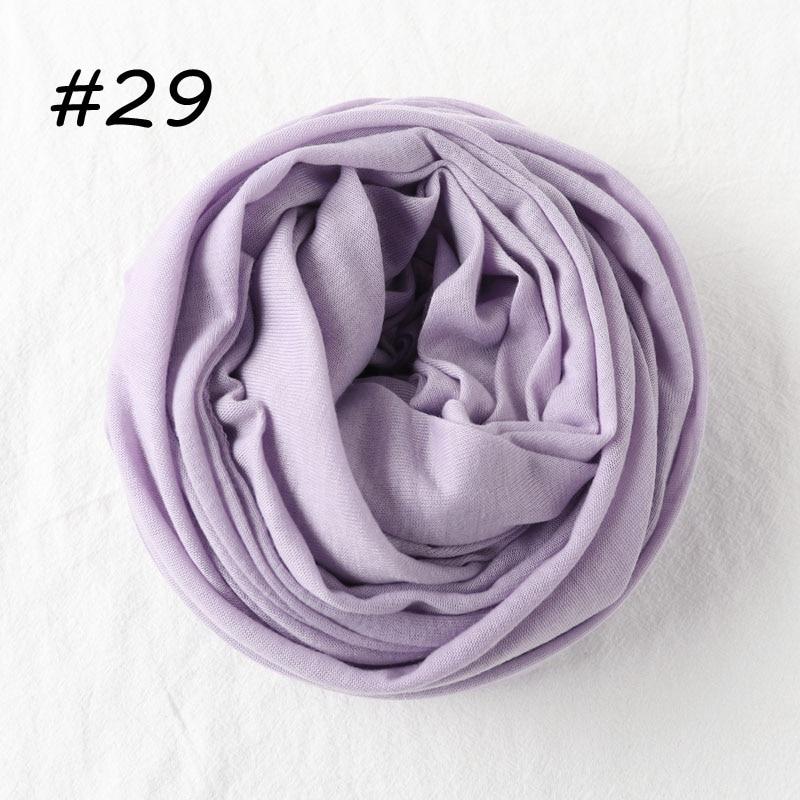 Один кусок Хиджаб Женский вискозный Джерси-шарф Мусульманский Исламский сплошной простой Джерси хиджабы Макси шарфы мягкие шали 70x160 см - Цвет: 29 mave mist