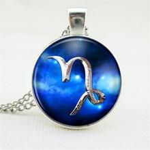 Blue Necklace Women/Men Jewelry Wholesale Antique Glass Pendant Necklace 12 Constellations Zodiac Pendant Necklace