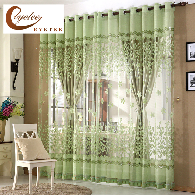 [byetee] Jacquard Kitchen Blackout Curtains For Living Room Burnt Out Curtains  Bedroom Window