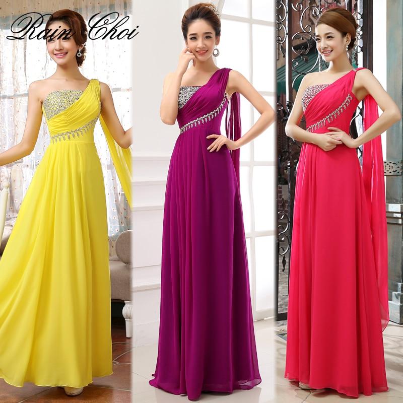 Long Evening Dresses 2019 A-Line One Shoulder Chiffon Formal Prom Evening Gowns Cheap Vestido De Noite