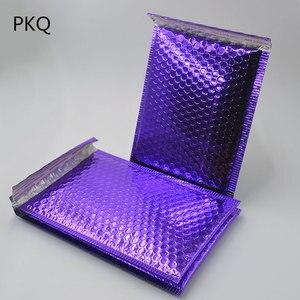 Image 2 - 20pcs 2 גודל בהיר סגול פולי בועת דיוור דיוור חינם מרופד מעטפת שקיות שחור צבע עמיד הלם שליח מעטפה מרופדת