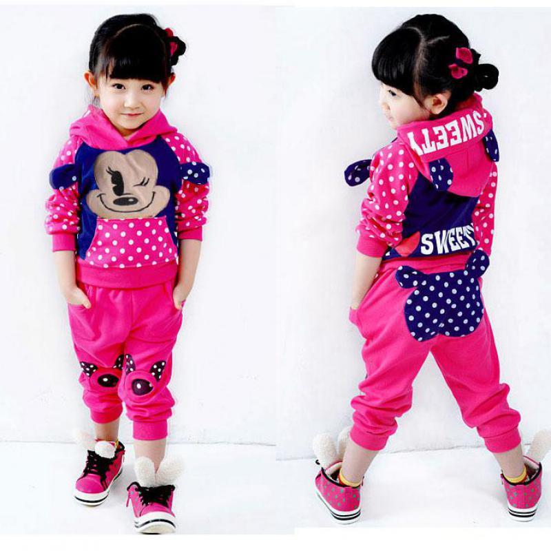 Dětské tepláky pro dívky karikatura dot Mikiny + kalhoty Dívčí oblečení Soupravy módní Dívčí kabát Dětská mikina s kapucí doprava zdarma