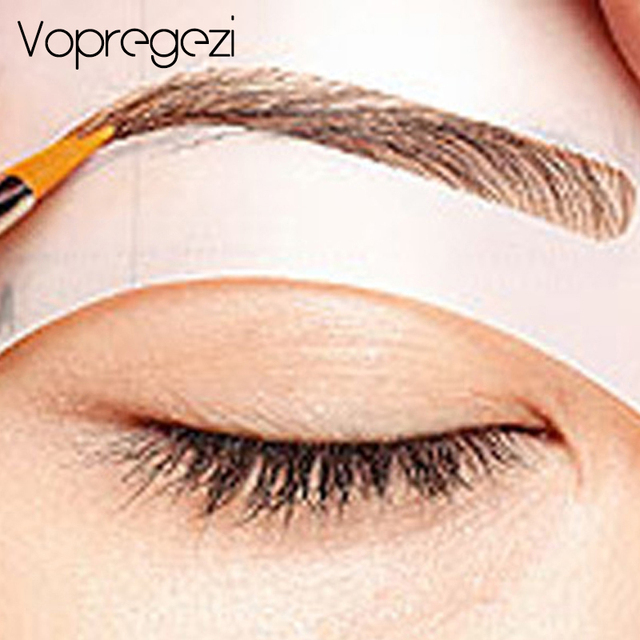 4Pcs Vopregezi Pro Reusable Eyebrow Stencil Set Eye Brow Mold DIY Drawing Guide Styling Shaping Template Card Makeup Beauty Kit
