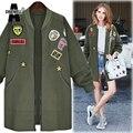 ACHIEWELL Plus Size 5XL Mulheres Inverno Jacket Brasão Zipper Manga Comprida Apliques Namorado Exército Verde Revestimento Das Mulheres Outwear