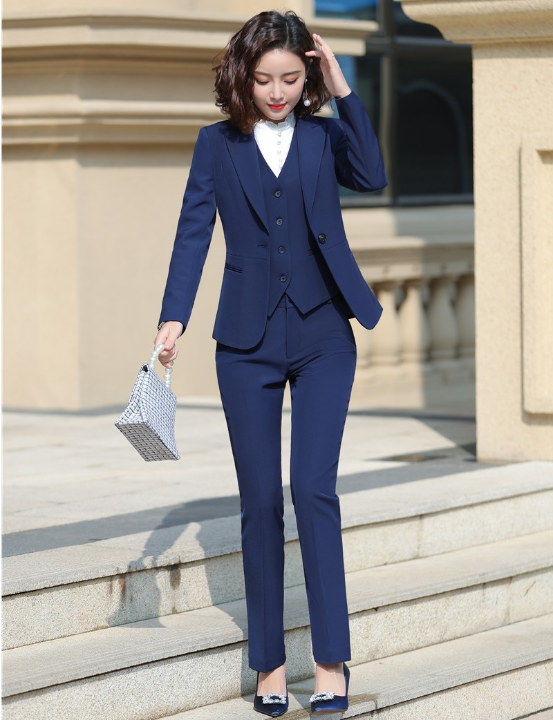 3 Pieces Sets Formal Women Business Suits With Pants And Jackets Coat And Vest & Waistcoat Ladies Office Work Wear Blazers