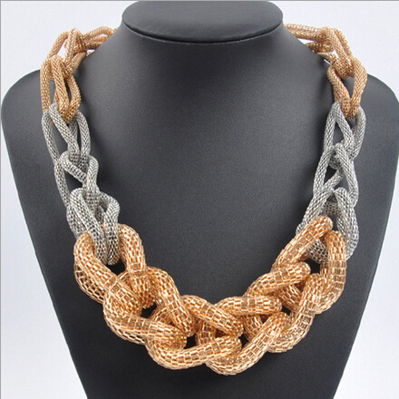 SHUANGR Vintage Style Statement Necklace Classic Metal Chain braid Twist Chain Necklace Women Jewelry