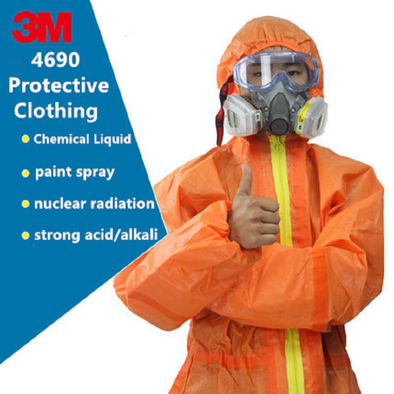 3M 4690 Orange Protective Coverall Strong Acid Alkali Resistant Nuclear Radiation Chemical Isolation Biological Protection Suit
