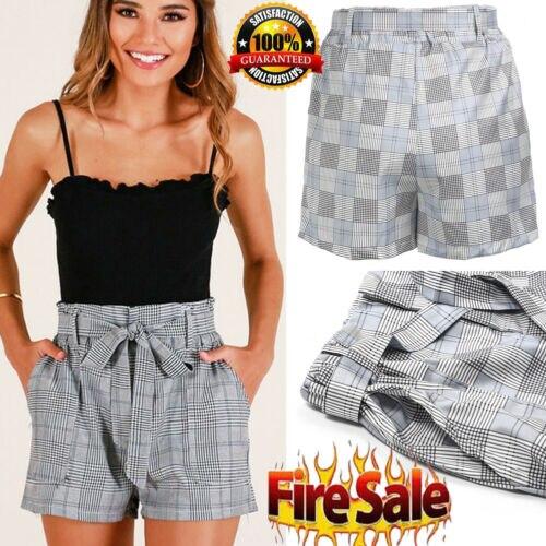 2019 Women New Style Fashion Hot High Waist Plaid Women Lady Sexy Summer Casual Shorts High Waist Short Beach Bow Shorts