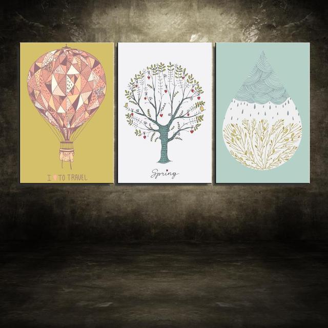 Eccezionale Bambini Appendere un quadro Gocce di acqua albero Del Fumetto  AE39