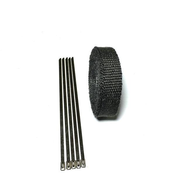 15 m/50 pies x 1 pulgada tubo de escape negro envoltura de escape Turbo colector de calor cabezal envoltura de escape tubo de envoltura de escape envoltura de calor escudo de calor