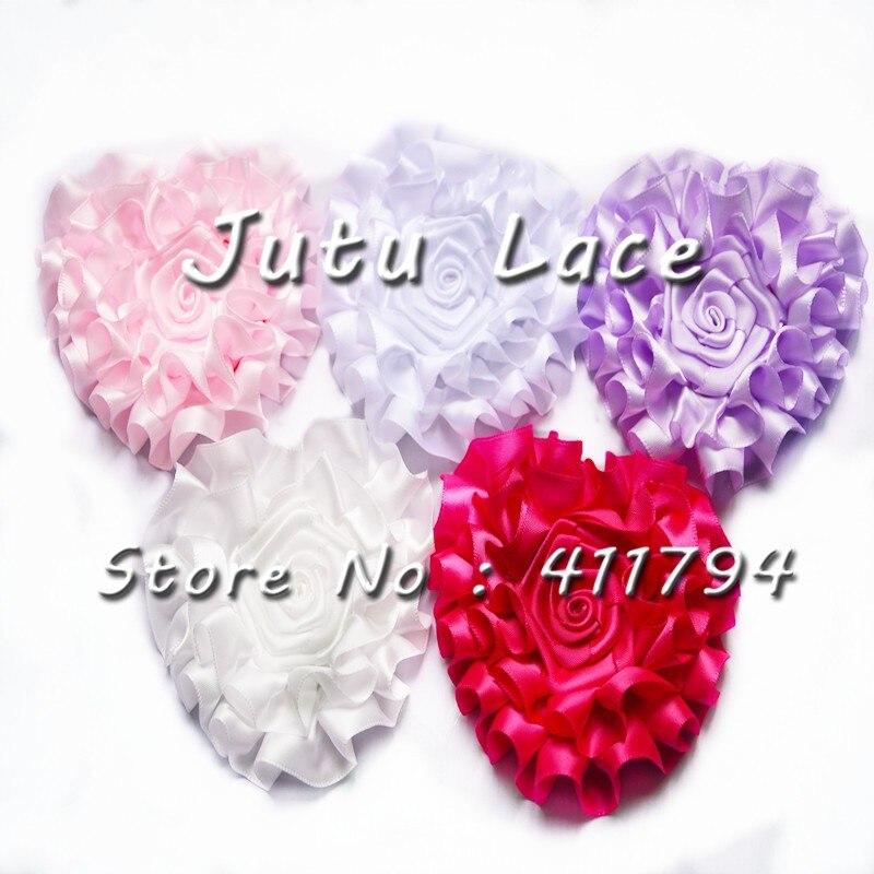 60 Pcs/ Lot, Shabby Ribbon Flowers Ribbon Heart Grosgrain Heart  Rose Flowers Headband Valentine's Days 7 Colors