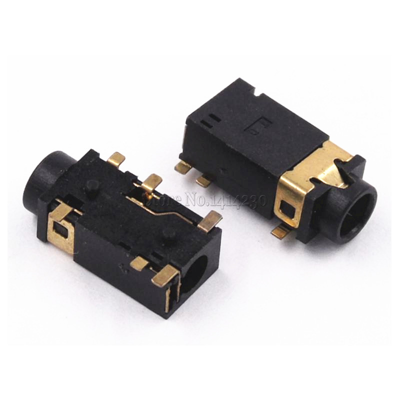 10PCS 3.5 MM Headphone Socket Audio Socket PJ-342 Surface Mounted 6 Feet Double Track Gold Plated PJ342