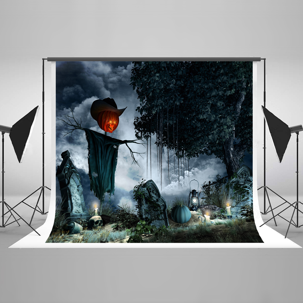 Kate Halloween Photography Backdrop Pumpkin Scarecrow Dark Clouds Tombstone Skeleton Halloween Backgrounds for Party Celebration  цена и фото