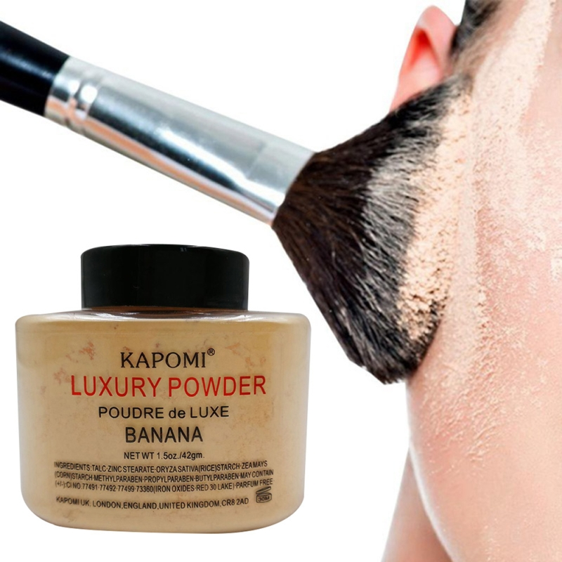 Women Banana Loose Powder 1.5 Oz Whitening Oil Control Luxury Face Powder Foundation Beauty Makeup Highlighter Long Lasting image