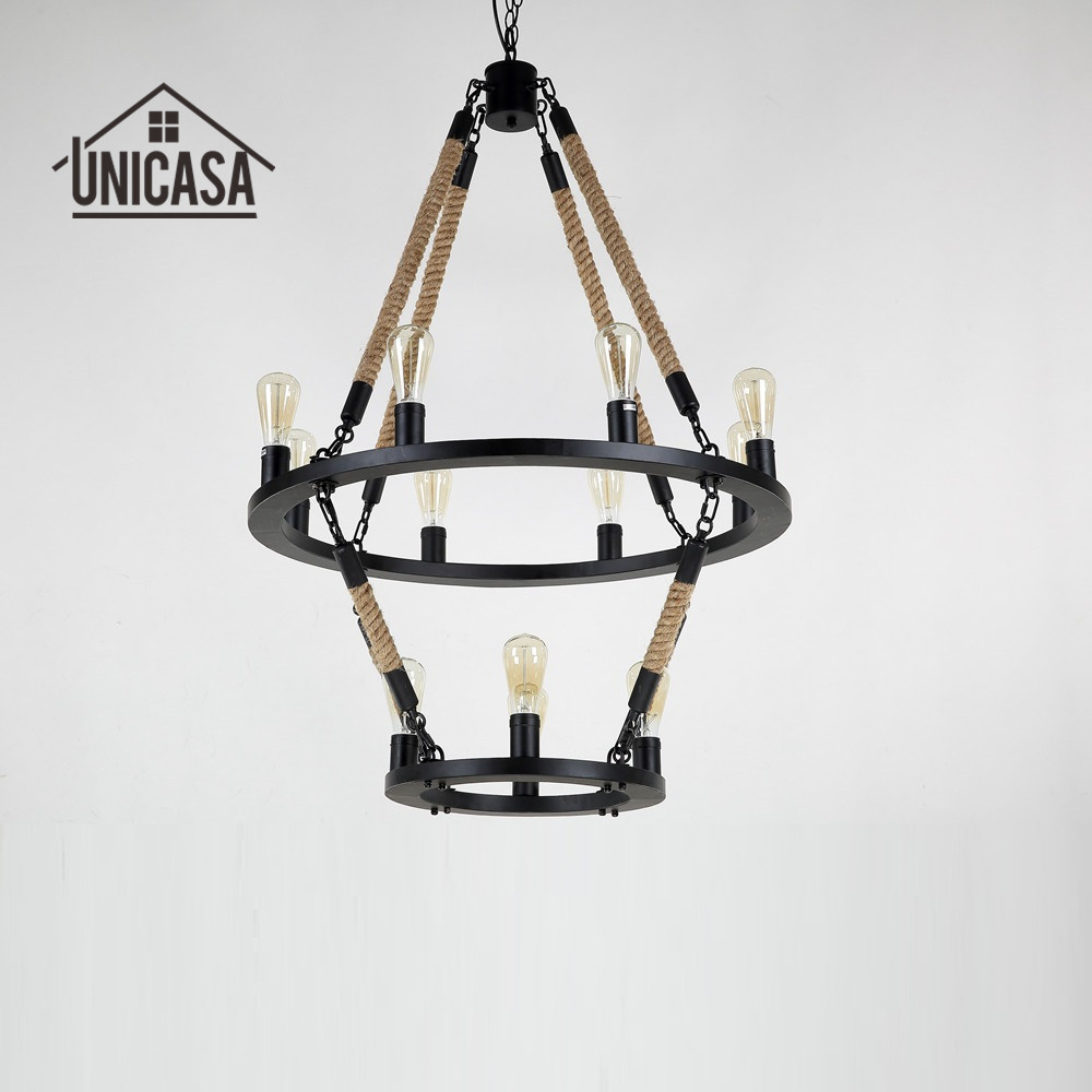 Antique Large chandelier Loft Vintage Lamp Bedroom Hand Knitted Hemp Rope Light  Bar lights for home decoration lighting