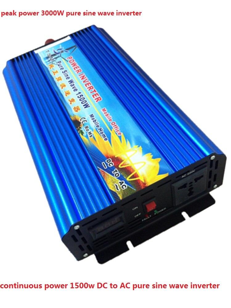 peak power 3000W digital display inverter off grid 1500w DC input 12v/24v to AC output 110V/220v pure sine wave inverter