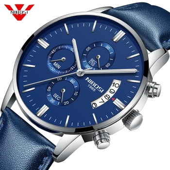 NIBOSI Blue Watch Men Chronograph Waterproof Leather Sport Military Army Wrist Watch Top Brand Luxury Clock Relogio Masculino