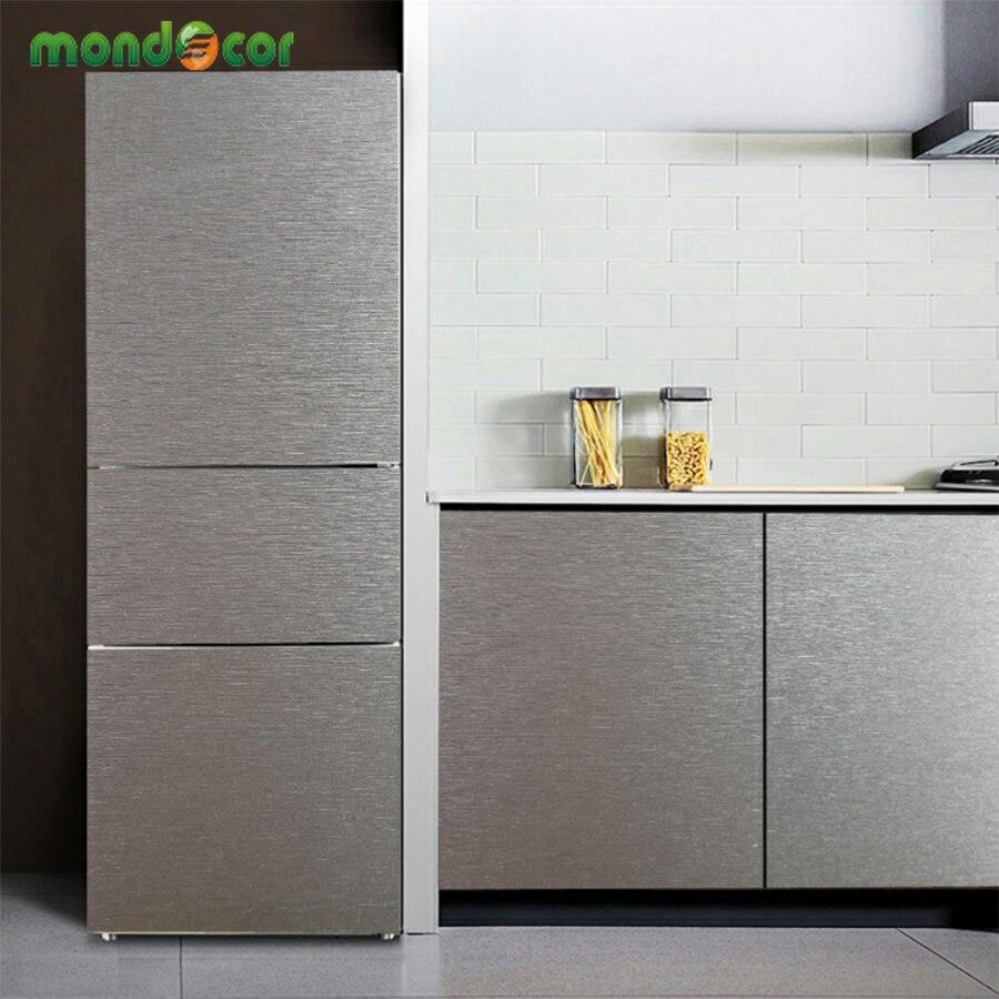 €10.9 30% de DESCUENTO|Metal cepillado plata autoadhesivo papel tapiz PVC a  prueba de aceite Acero inoxidable contacto papel muebles cocina ...
