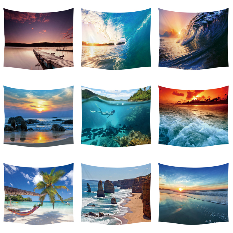 Tropical Plants Palm Tree Sunset Wall Hanging  Tapestry Ocean Wave Picnic Polyester  Beach Decor Ship Blanket Starfish Tapestry