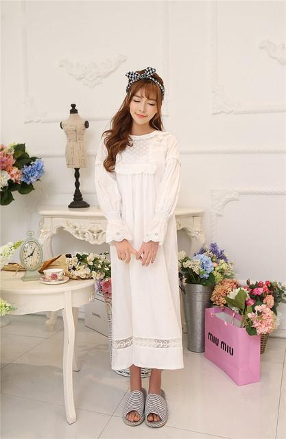 Primavera quente fêmea sleepwear mulheres branco Nightgowns Sleepshirts solto vestido longo