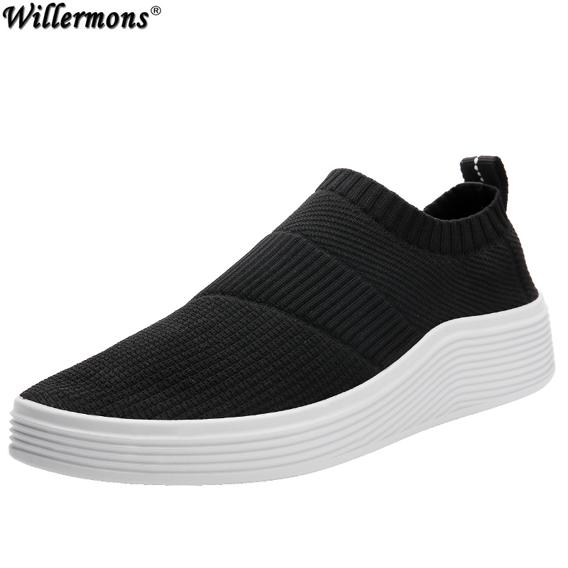 2018 Summer Men's Fashion Slip on Casual Loafers Shoes Men Breathable Knitting Canvas Platform Shoes summer casual shoes men loafers comfortable slip on flat shoes breathable canvas shoes fashion solid soft light driving footwear