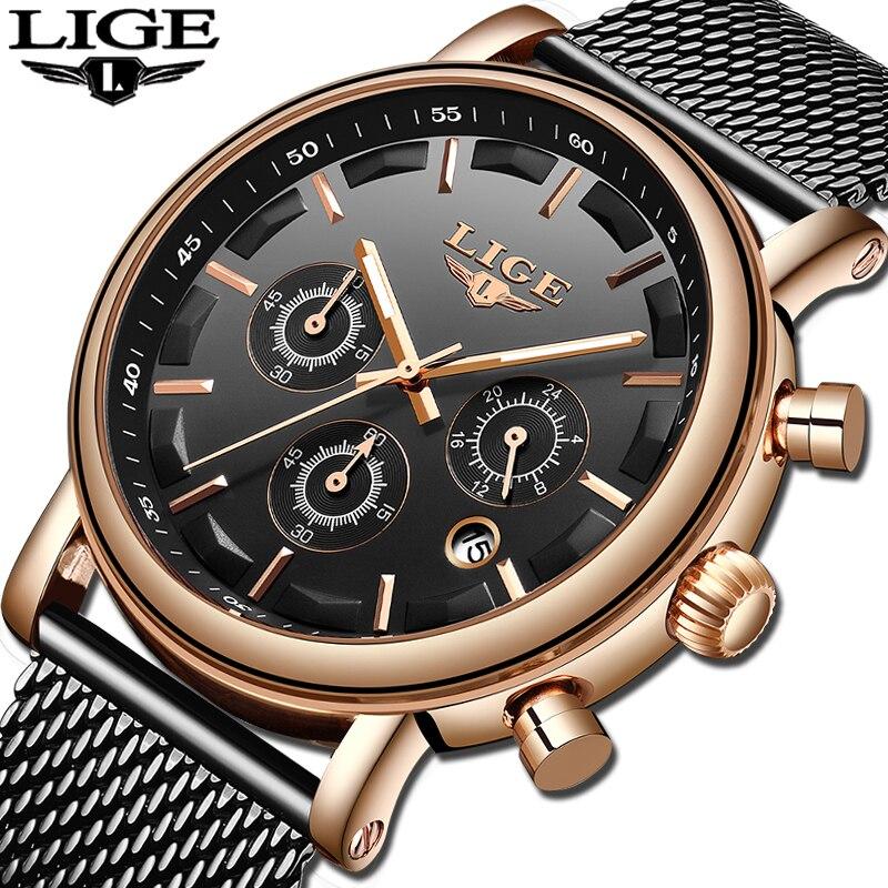 Relogio Masculino 2019 LIGE Top Brand Watch Men Fashion Sport Quartz Clock Mens Ultra Thin Date Waterproof Wrist Watch