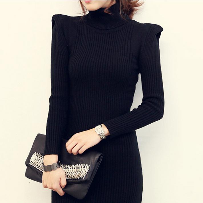womens winter sweater dress high collar hedging long hip dress autumn and winter black Design sweater